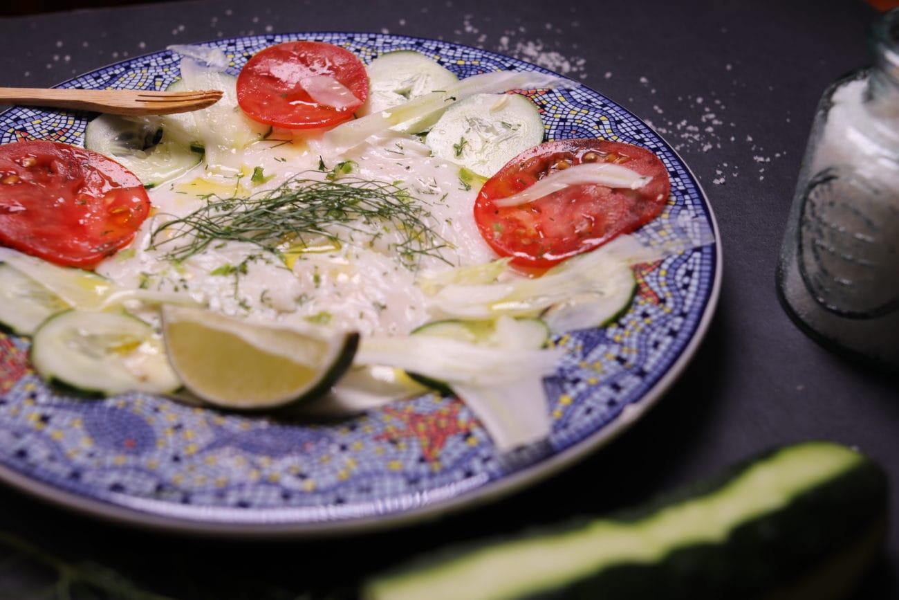 Carpaccio de flétan et légumes du jardin