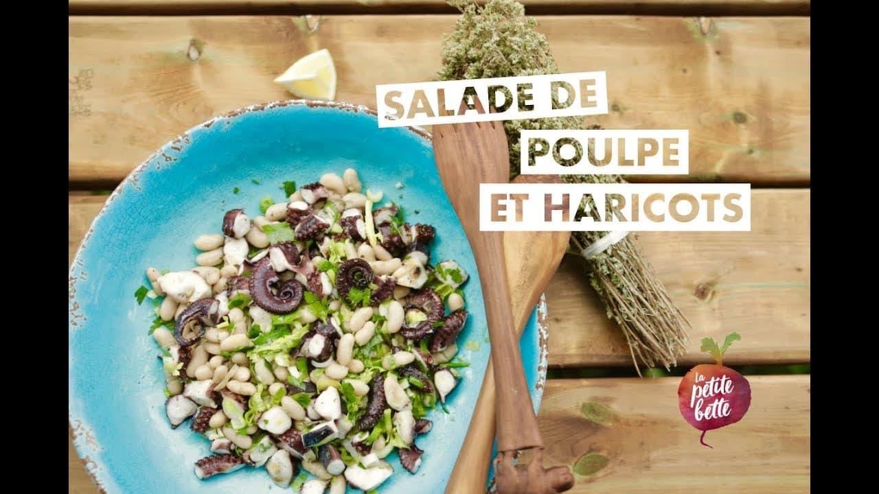 Poulpe (pieuvre) en salade aux haricots