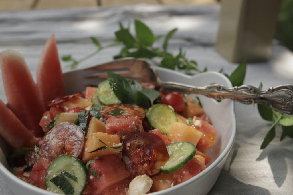 Salade de chorizo et melons d'été