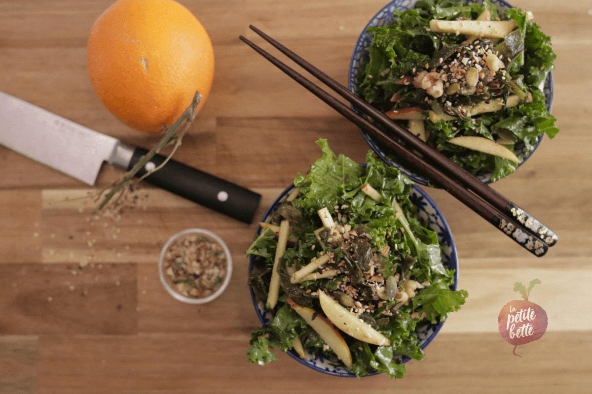 Salade de chou kale et algues wakame
