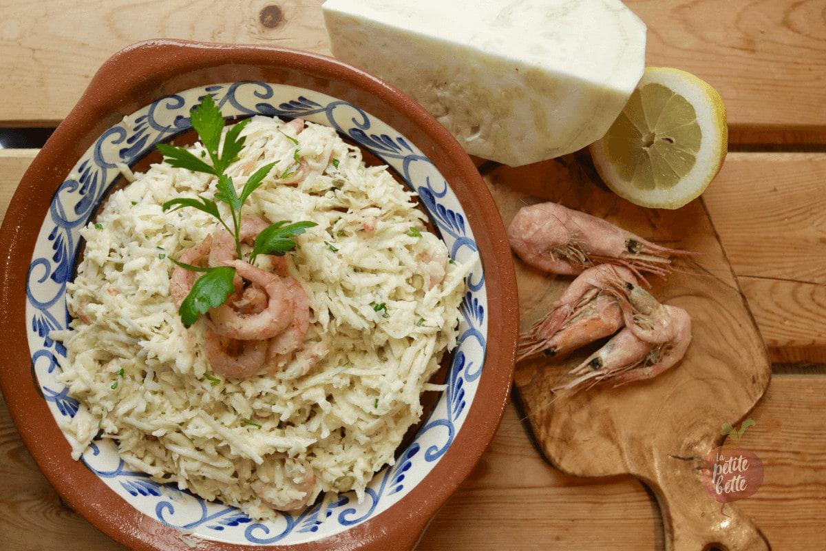 salade de céleri rave aux crevettes