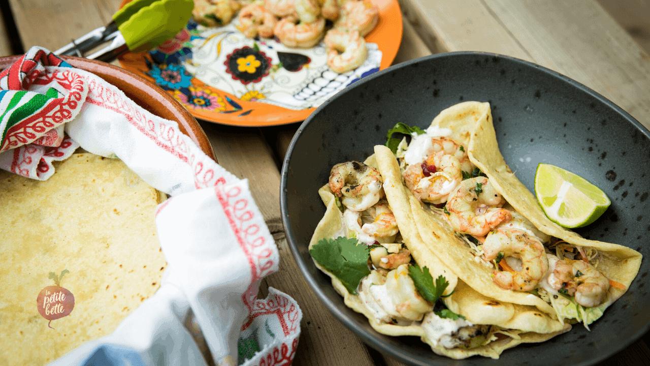 Tacos aux crevettes grillées